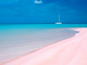 Pink sand beach in the Tuamotu